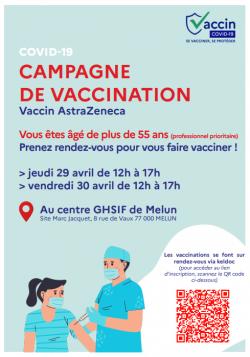 Campagne de vaccination au centre de Melun les 29 et 30 avril 2021