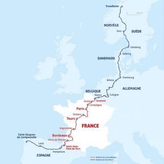 Carte de l'itinéraire de la Scandibérique reliant Trondheim en Norvège à Saint‐Jacques‐de‐Compostelle en Espagne