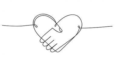 Symboles de solidarité : une main et un coeur