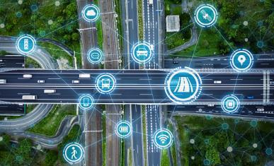 Image d'un ensemble de routes vues du ciel sur laquelle sont placés des pictos de mobilités
