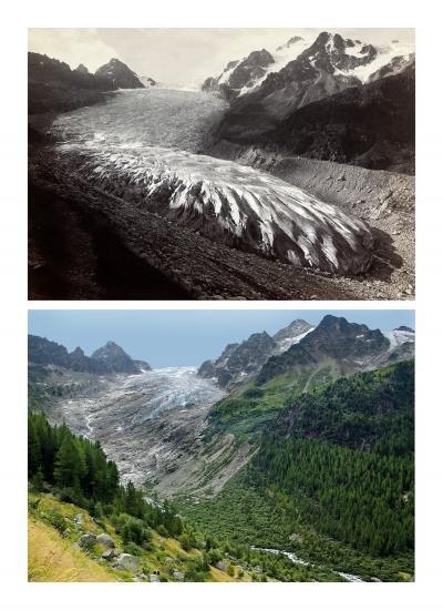 Photographie d'un glacier avant-après la fonte des glaces